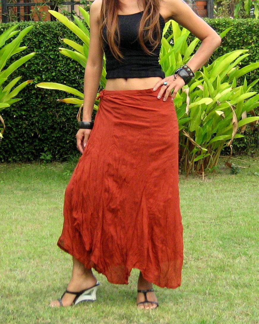6f29edd2fa9 Long Wrap Skirt - Billys Thai Shop - Handmade Skirts for Women